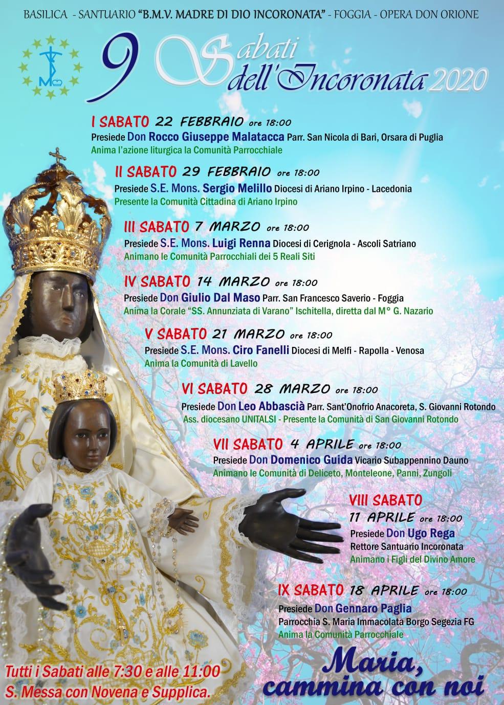 Iniziano i 9 Sabati in preparazione alla Festa Aprile 2020!